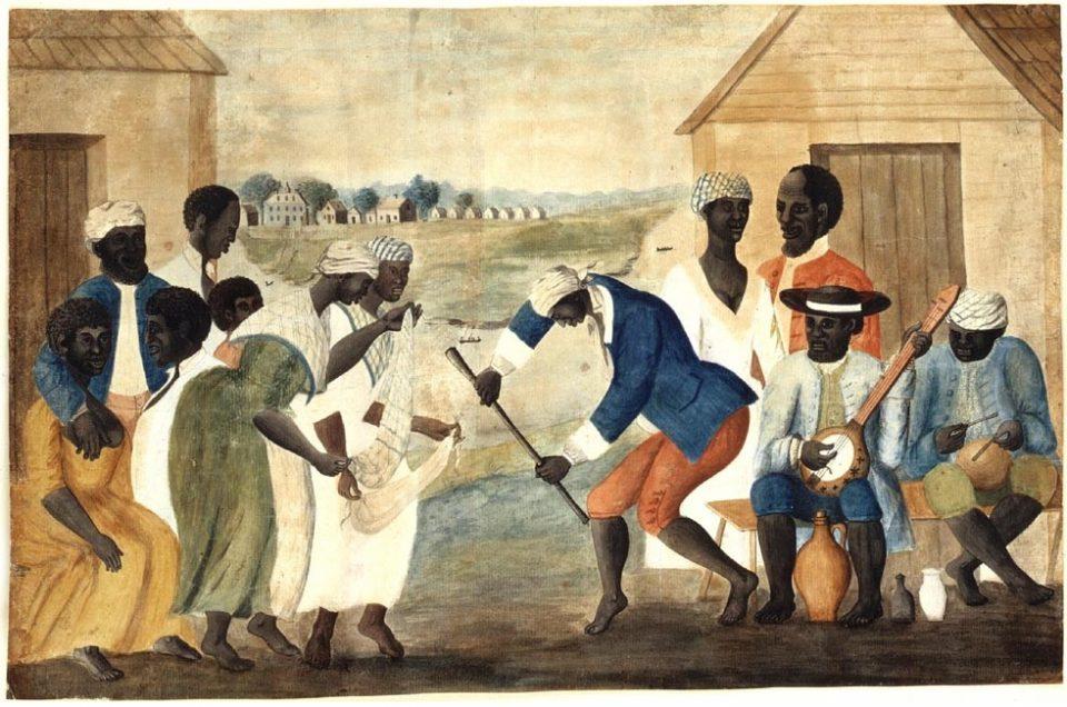 Schiavi Afroamericani Che Ballano Al Suono Del Banjo E Delle Percussioni